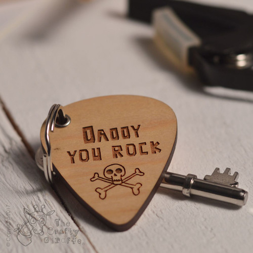 Personalised You Rock Message Pick Keyring