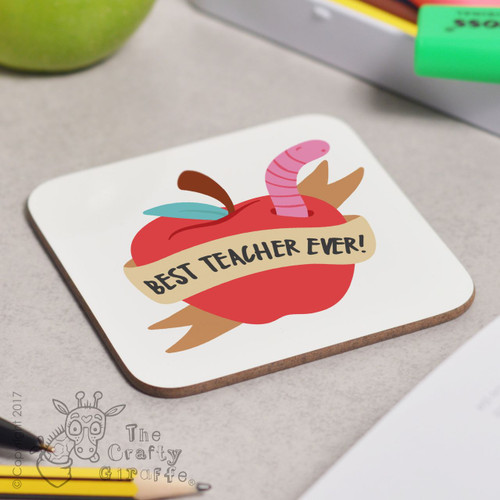Personalised Best Teacher Ever - Apple Coaster