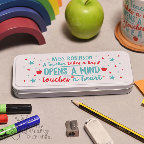 Personalised A teacher takes a childs hand Pencil Tin