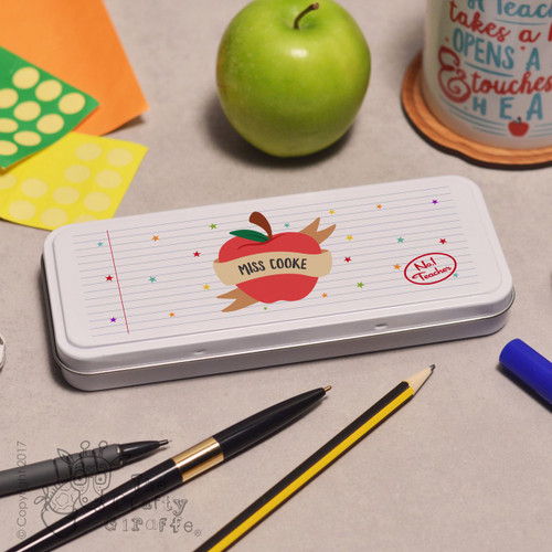 Personalised Apple Teacher Pencil Tin