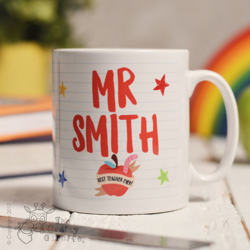 Personalised Teacher Name - Best teacher apple Mug