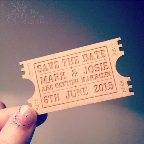 Personalised Save The Date Ticket Magnet  x 5