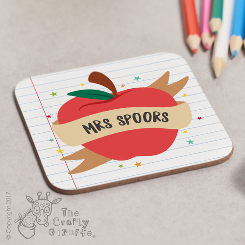 Personalised Apple Teacher Coaster