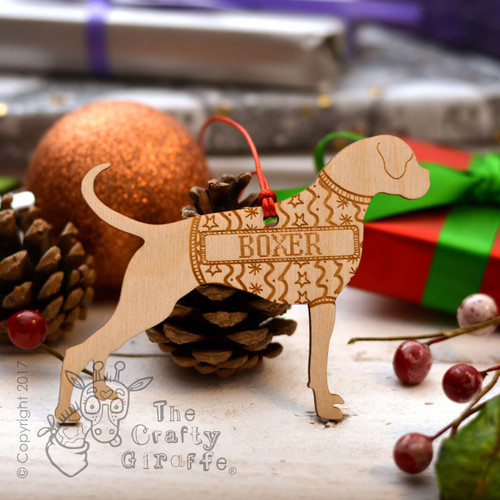 Personalised Boxer Dog Decoration - Long Tail