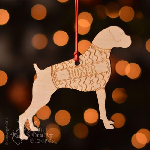 Personalised Boxer Dog Decoration - Short Tail
