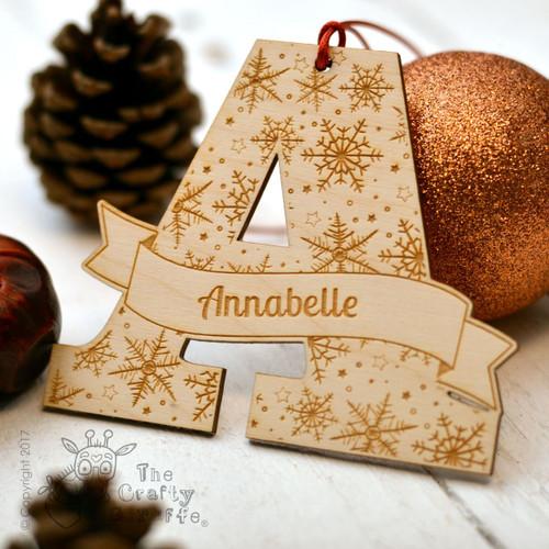 Personalised Snowflake Initial Decoration.