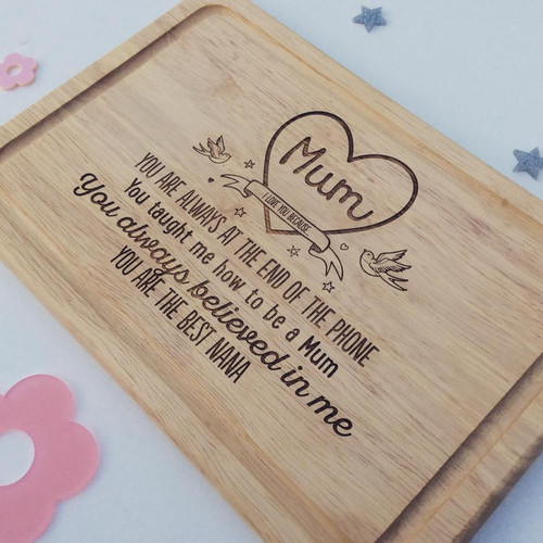 "Personalised ""Mum , I love you because"" Board"