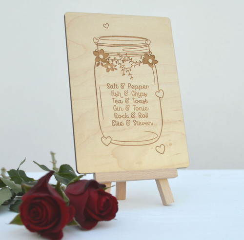 Personalised Jar Wooden Card