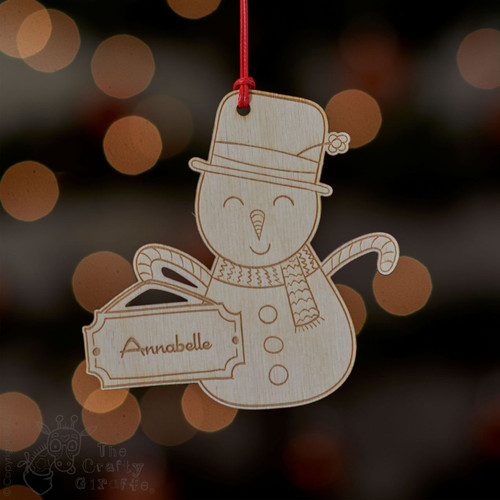 Personalised Snowman with sign Decoration