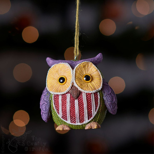 Knitted Owl - Purple ear