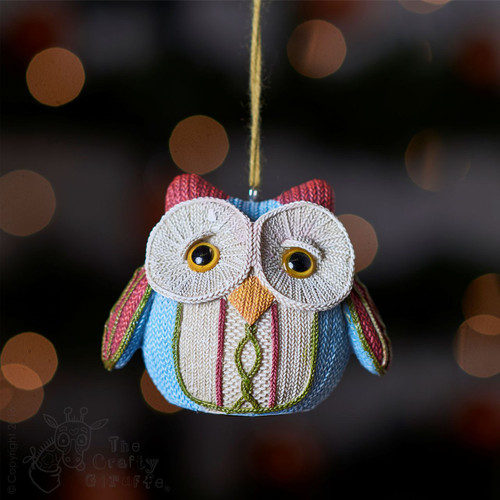 Knitted Owl - Red ear