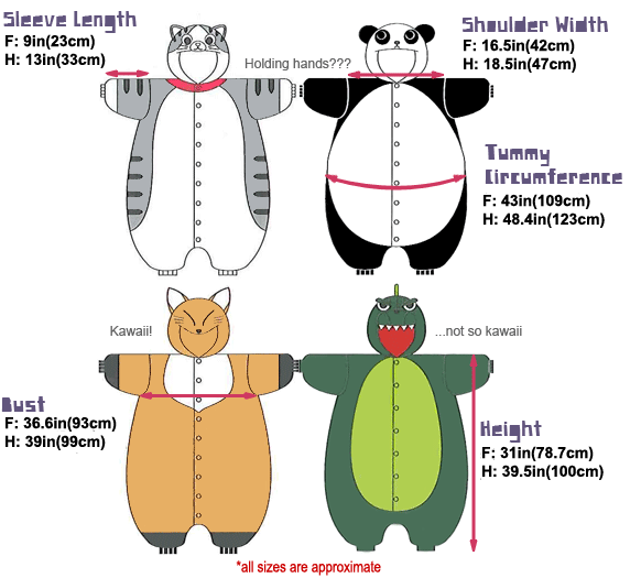 Kids Kigurumi Measurements