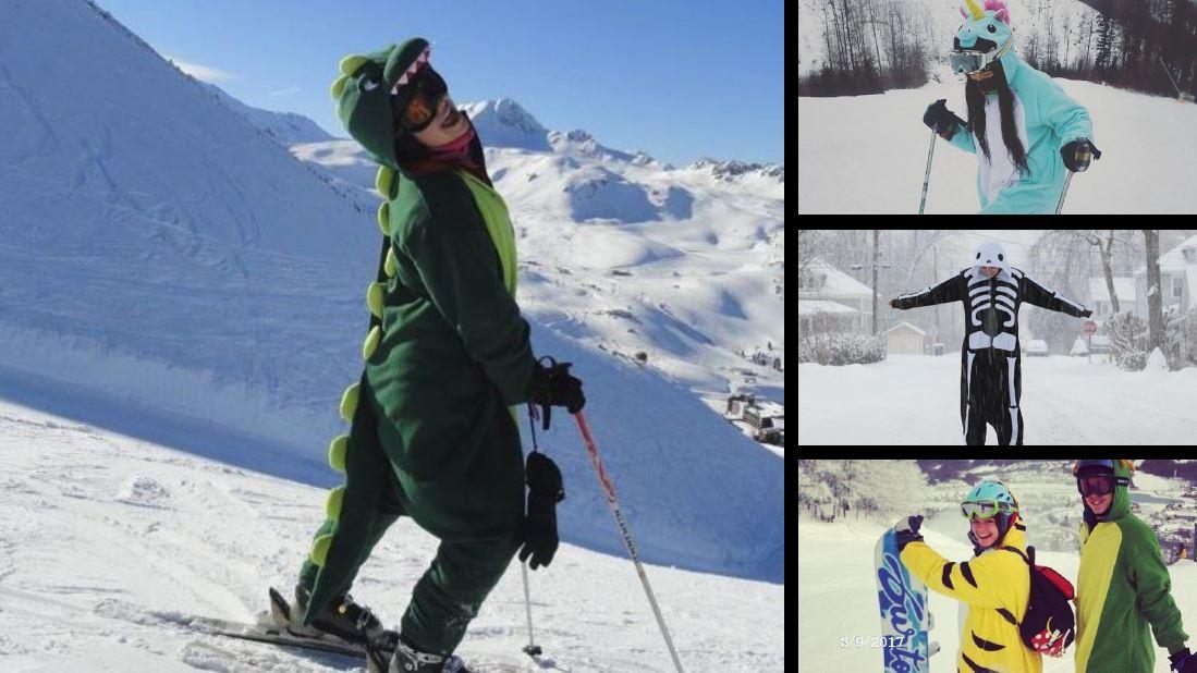 un Kigurumi dragon à la montagne de neige.