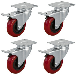 17205 3-Inch Swivel Double Lock Polyurethane Plate Casters, Red, 4-Pack