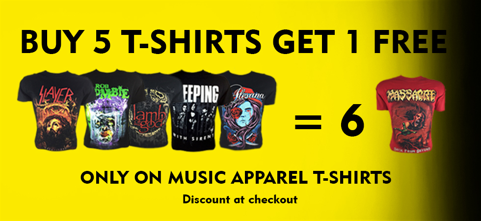 Buy 5 T-shirts get 1 Free in mussic apparel category