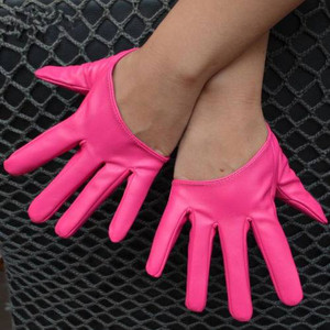 Synthetic Leather Asymetric Short Gloves
