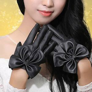 Synthetic Leather Black with Ribbon Gloves