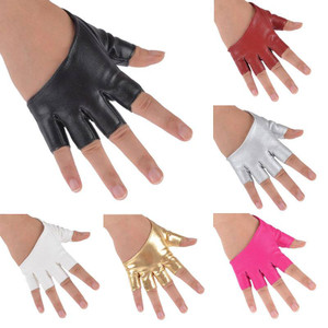 Synthetic Leather Asymetric Fingerless Gloves