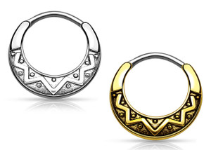Round Tribal Fan Design Septum Clicker