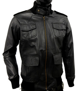 Solo Piel - Black Zip-Up Leather Aviator Jacket