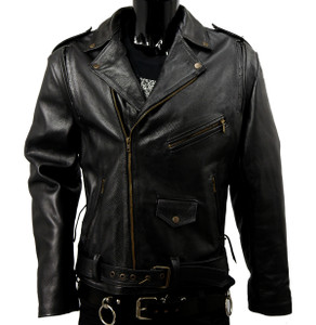 Solo Piel - Black Biker Leather Jacket with Pads