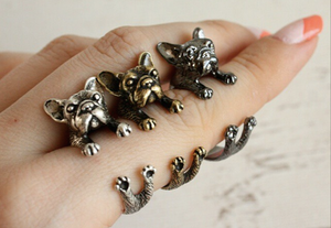 French Bulldog Wrap Around Ring