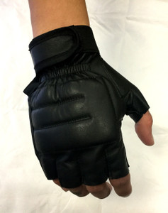 Padded Fingerless Leather Gloves