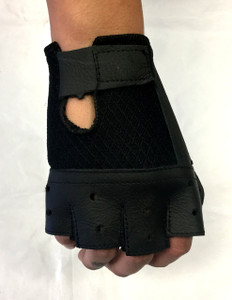 Fingerless Biker Leather Gloves w/Velcro Closure