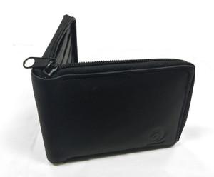 Black Zip-Around Leather Wallet
