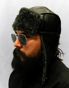 Fur Leather Aviator Hat