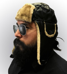 Black Leather Aviator Hat with Honey Fur