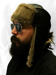 Leather Aviator Hat w/Fur