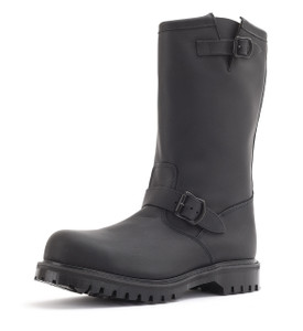 Engineer Boot with Steel Toe in Greasy Black