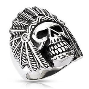 Apache Death Skull Wide Cast Ring