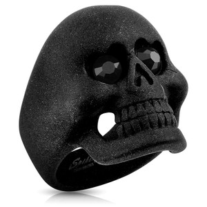 Matte Black Skull With CZ Heart Eyes Ring
