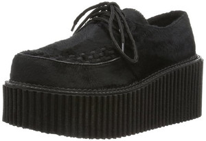 "Women's Black Suede 3"" Sole Creeper by Demonia"