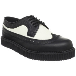 Black and white Leather Wingtip Creepers  by Demonia