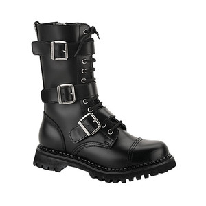 Black Real Leather Steel Toe Unisex Boots by Demonia