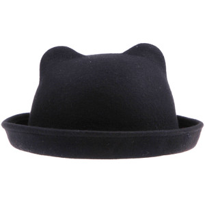 Black Fedora Bowler Hat w/ Cat Ears