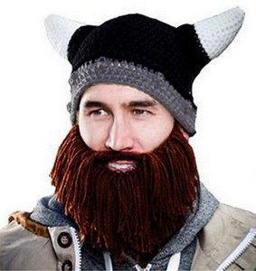 Knit Hat - Viking Helmet with Beard