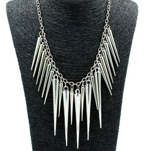 Silver Spikes Necklace