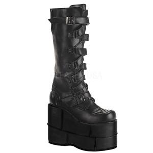 "Stack-308 7"" Zig Zag Strap Unisex Platform Boots by Demonia"