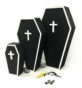 Large Coffin Jewelry Trinket Box w/Mirror