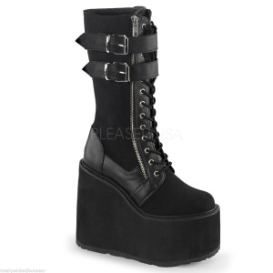 """Women's 5 1/2"""" Wedge Platform Lace-Up Boot by Demonia"""