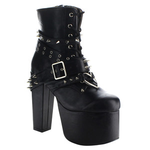 """Women's 5 1/2"""" Platform Heart Ring Ankle Bootie by Demonia"""