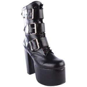 "Women's 5 1/2"" Platform 3 Buckle Ankle Bootie by Demonia"