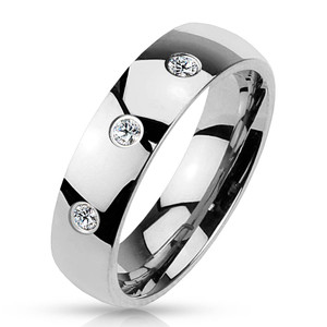 Triple CZ Classic Dome Band Ring