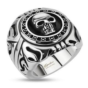Skull Shield Wide Cast Ring Stainless Steel