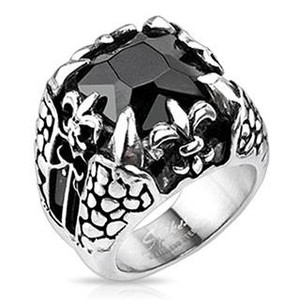 Faceted Onyx Square Gem Fleur de Lis & Dragon Claw Cast Ring