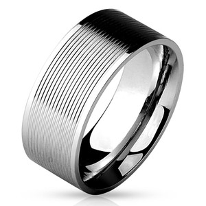 Multi Grooved Lines Center 316L Stainless Steel Band Ring